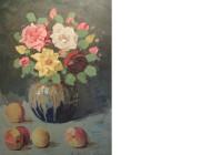 3 rudolf bartels rosen in vase mit fruchten