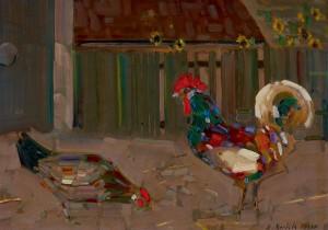 """Rudolf Bartels """"Huhn und Hahn"""" gehört zu den Gemälden, die auf der angrenzenden Grünfläche künstlerisch umgesetzt werden sollen."""