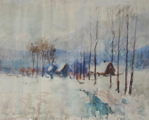 Tarnogrocki, Otto, Winterlandschaft,Aquarell_66x50